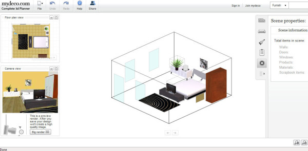 Mydeco 3d Room Planner Is An Online Room Design Tool Which Offers Thousands Of Objects It Has A Unique Camera View And It Is An Easy To Use Application