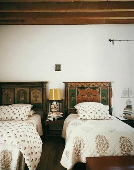 Block printed Indian textiles and hand-painted headboards