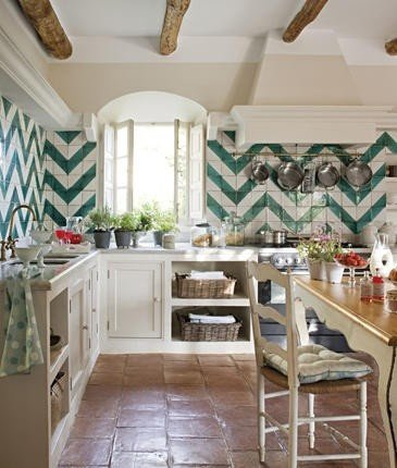Green Chevron Tile