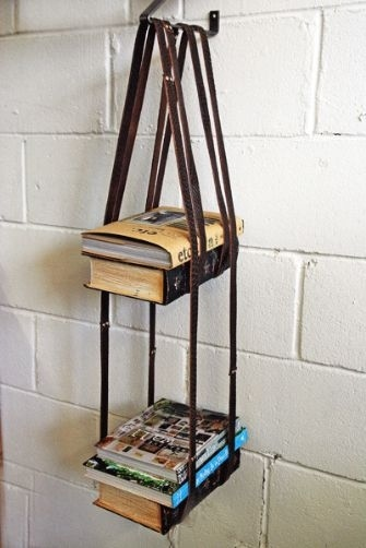 Leather Harness Hanging Bookshelf