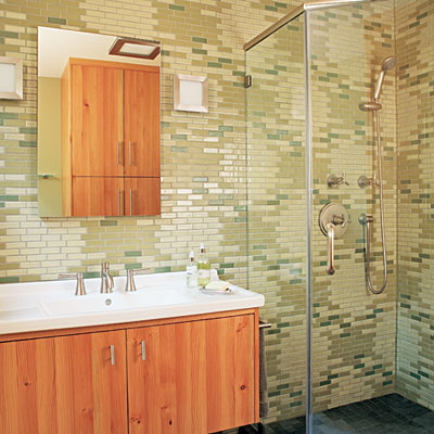 Patterned tile wall
