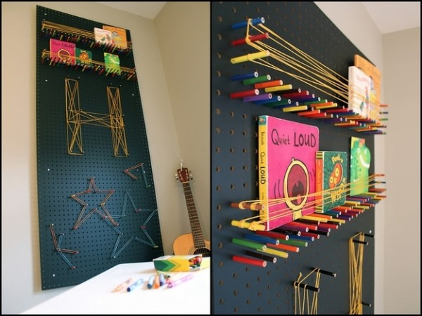 Pegboard Using Colored Pencils and String