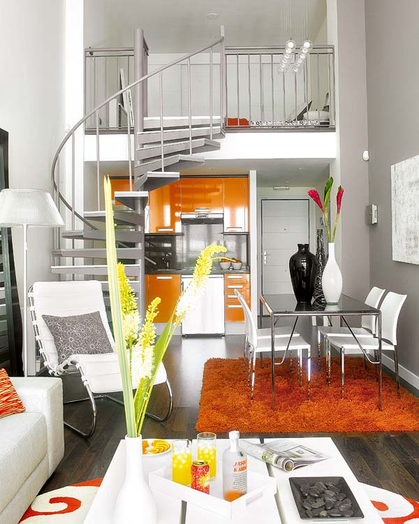 Small Loft Featuring Bright, Vividly Colored Spaces