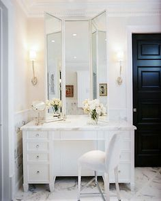 white. marble. vanity. roses. in love