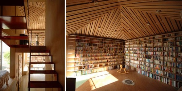 Home library designed by Atelier Bow-Wow