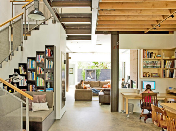 Loft Feel Home Office Includes Workspace As Well As Library and Reading Nook