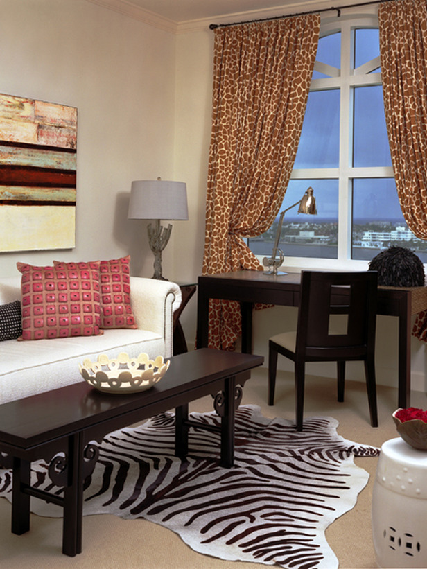 Modern Home Office With Animal Print Rug And Curtains. Advertisement