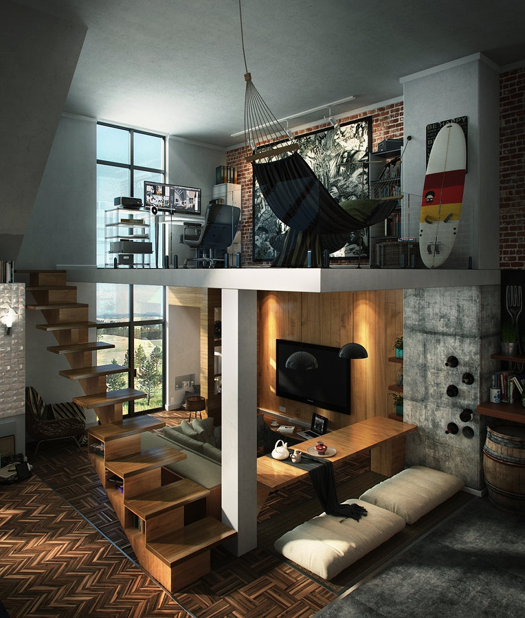 Cool Bachelor Pad With Loft   Interior Design Mag