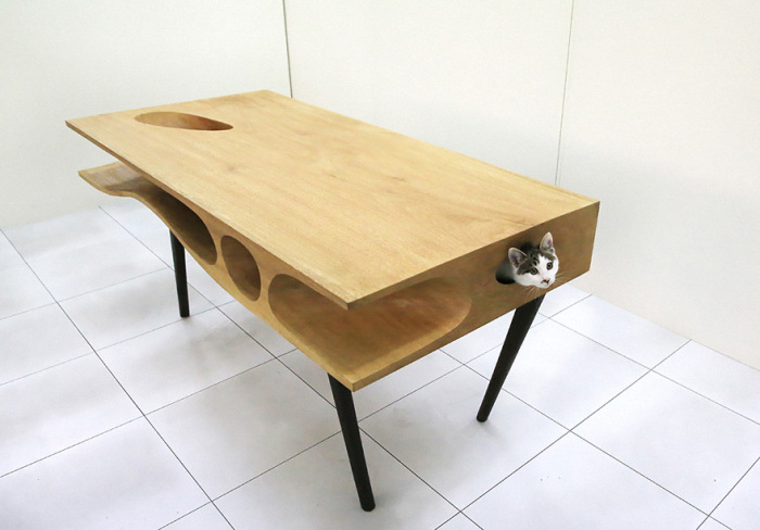 Table with a tunnel for cats from LYCS.