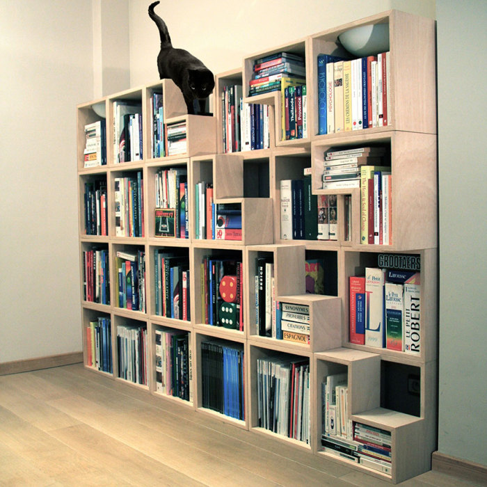 Bookcase with a ladder to the mustachioed pet from Corentin Dombrecht.