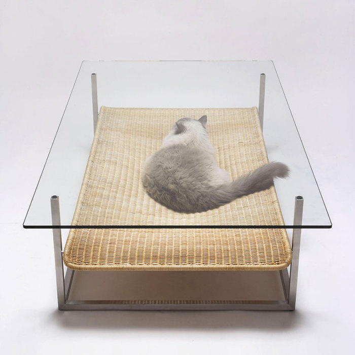 Coffee table with a hammock by Koichi Futatsumata.