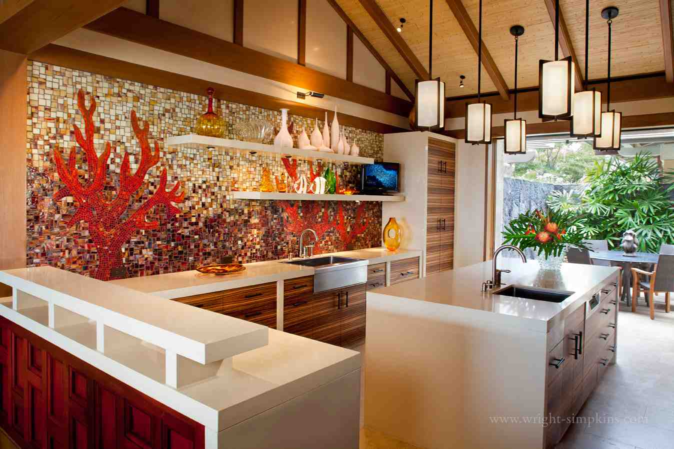 a hawaii resort home kitchen w intricate rich mosaic splash wall