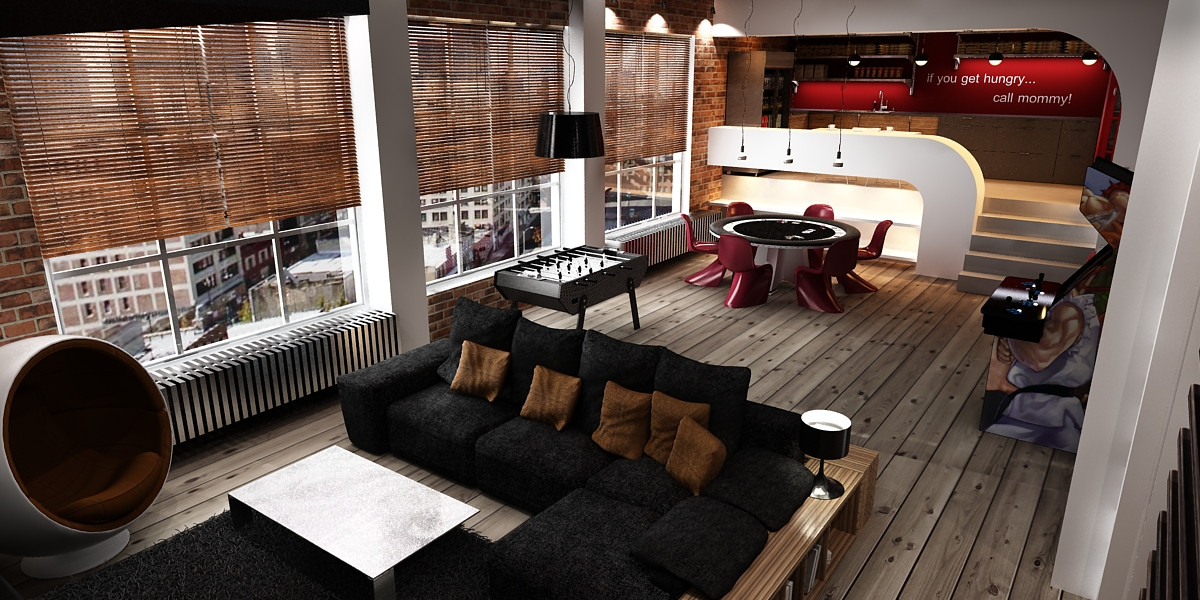 Bachelor loft interior design mag - A loft apartment bachelor pad ...