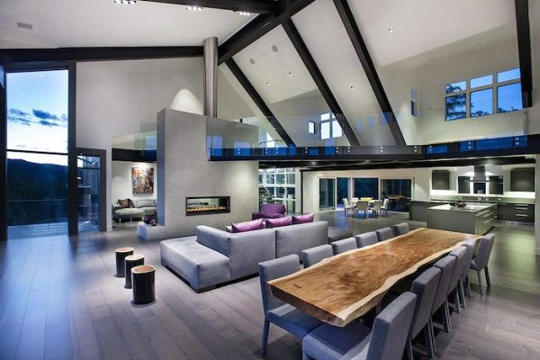 Contemporary Living room with slanted ceiling and huge loft