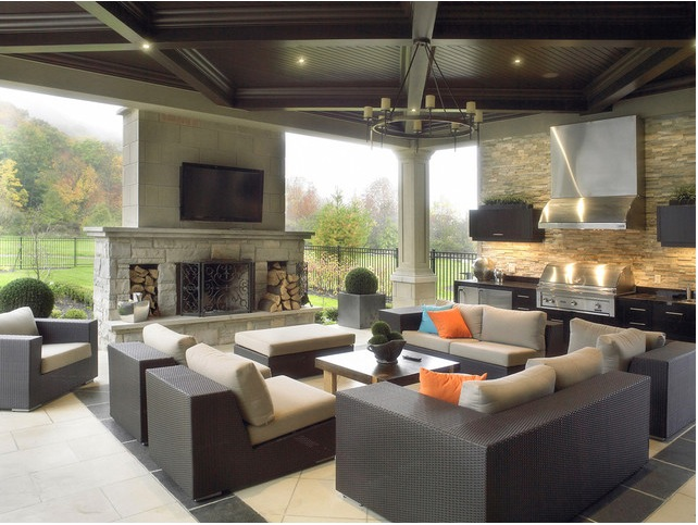 Contemporary Outdoor Kitchen Entertainment Area Interior