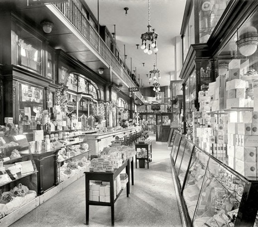 Drug store in the old Penn Station, NYC, c.1915