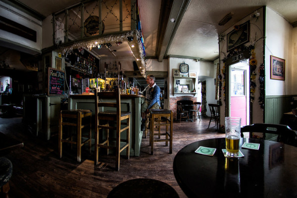Early afternoon, the front bar of the King Arthur pub, Glastonbury, England