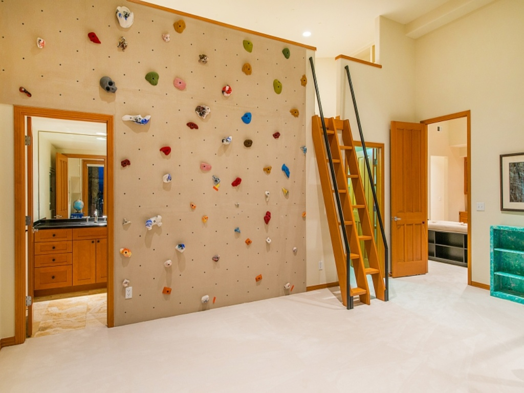 fun kids room with climbing wall i wonder what 39 s in the