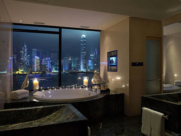 Jacuzzi Bathroom Design with Harbour View
