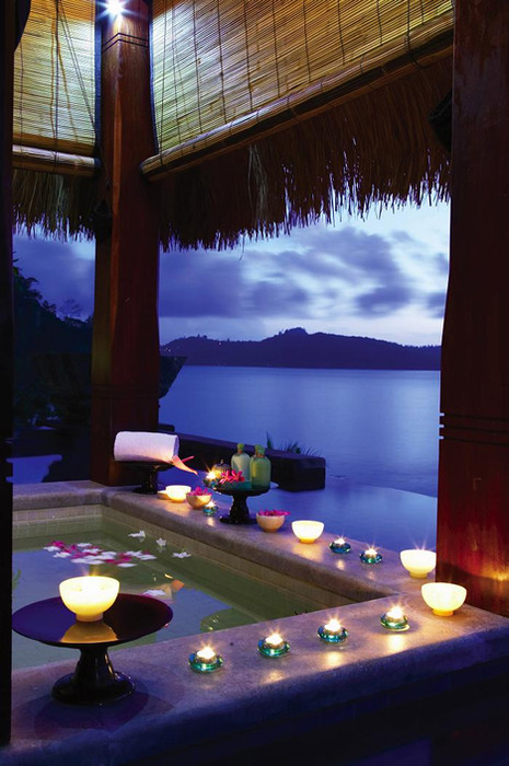 Luxury bathroom with a view at Seychelles