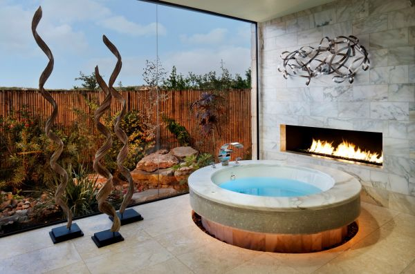 Modern bathroom with circular tub