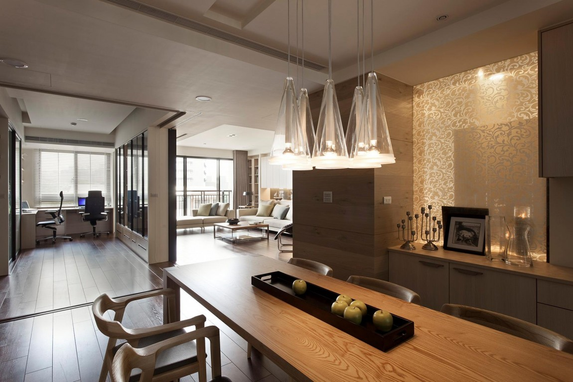 Nice apartment with kitchen living and office interior for Modern apartment interior