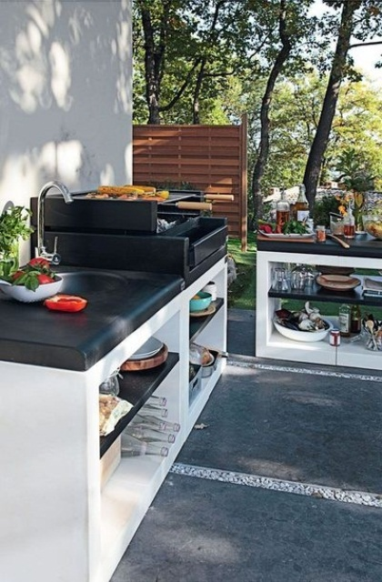 20 modern outdoor kitchen ideas for Barbecue exterieur leroy merlin