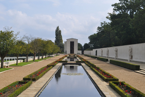 Reflecting pools and tablets of the missing lead to memorial chapel at Cambridge American Cemetery