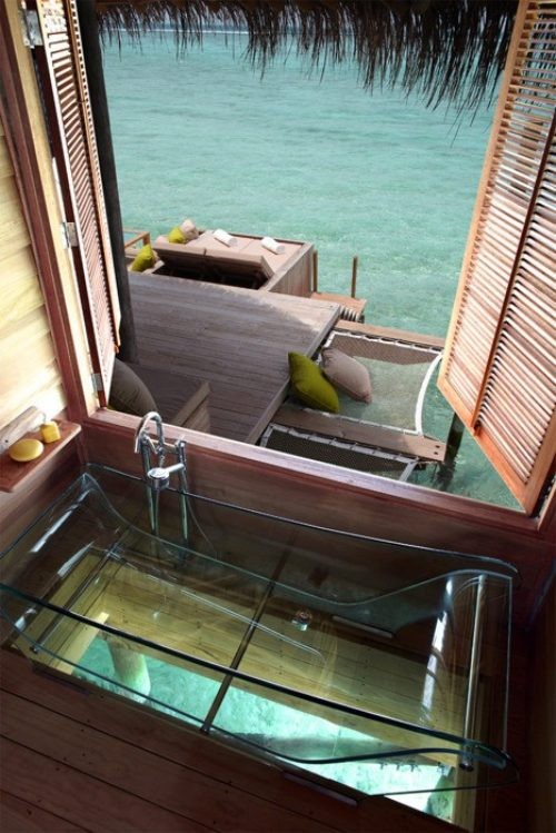 Seaside bathroom with a view