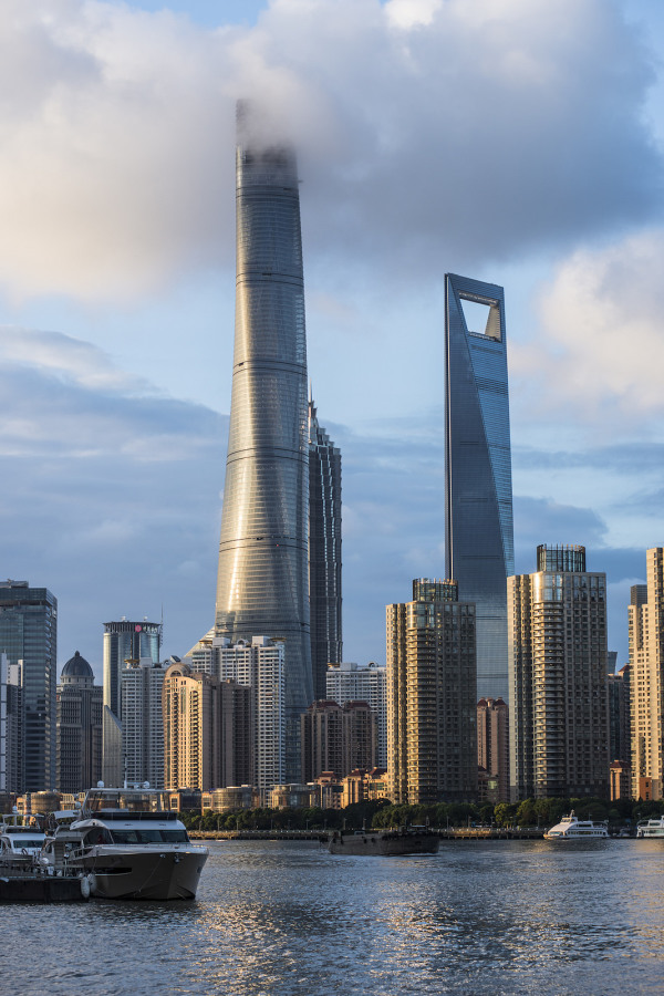 Shanghai Tower touching the clouds