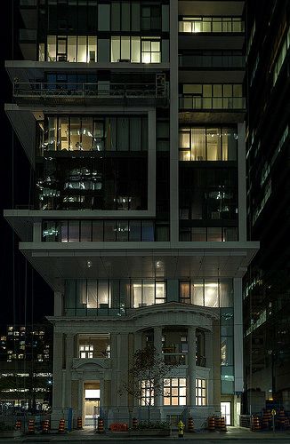 The striking Residences at the RCMI at night, Toronto's first car-free condominium