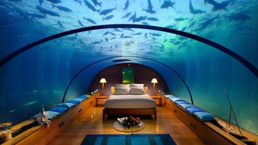 Underwater hotel suite in the Maldives