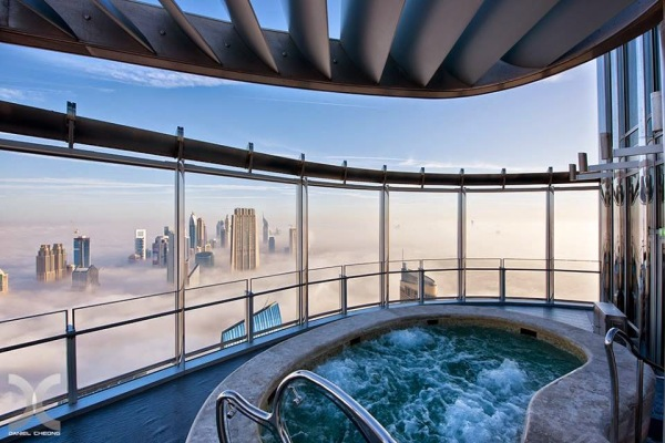 Hot Tub above the clouds in Burj Khalifa, Dubai.