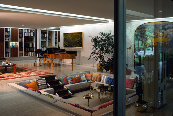 Living room of the Eero Saarinen-designed Miller House, complete with conversation pit. Columbus, Indiana, circa 1957