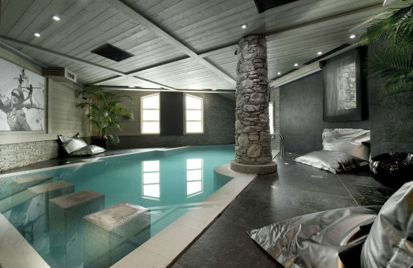 Natural Stone Indoor Pool + Projector