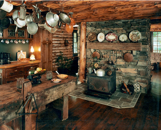 Real rustic cabin kitchen