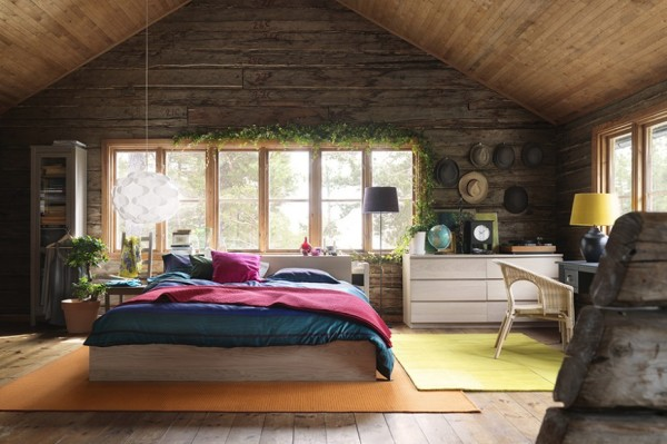 Spacious Natural Wood Bedroom