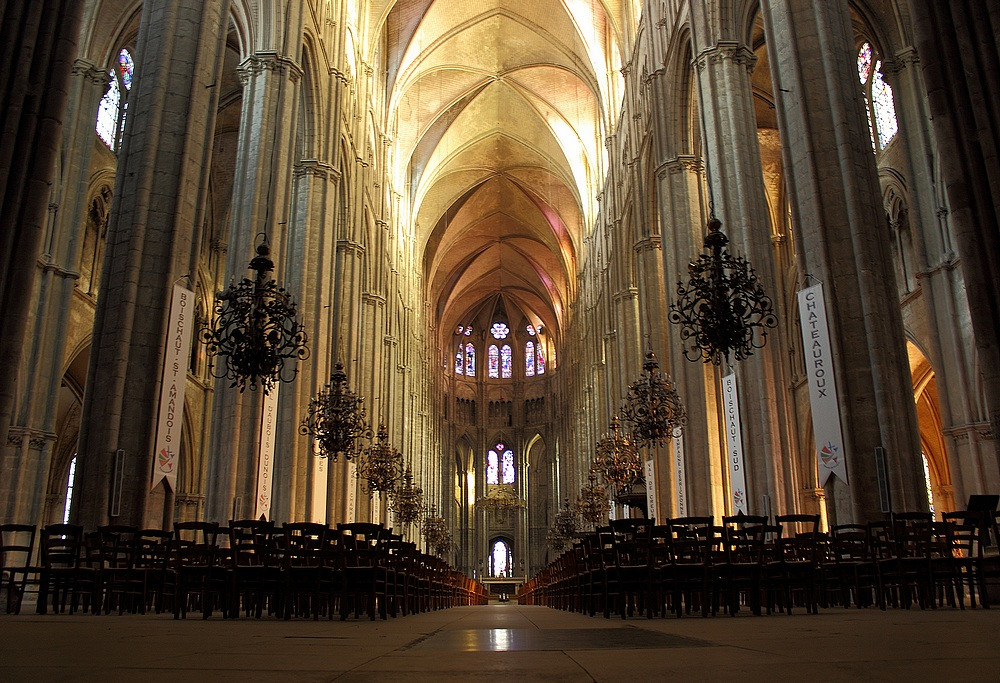 the interior of bourges cathedral completed in 1230 ce