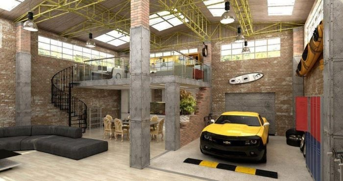 Urban Industrial Loft Apartment Garage Interior Design Mag