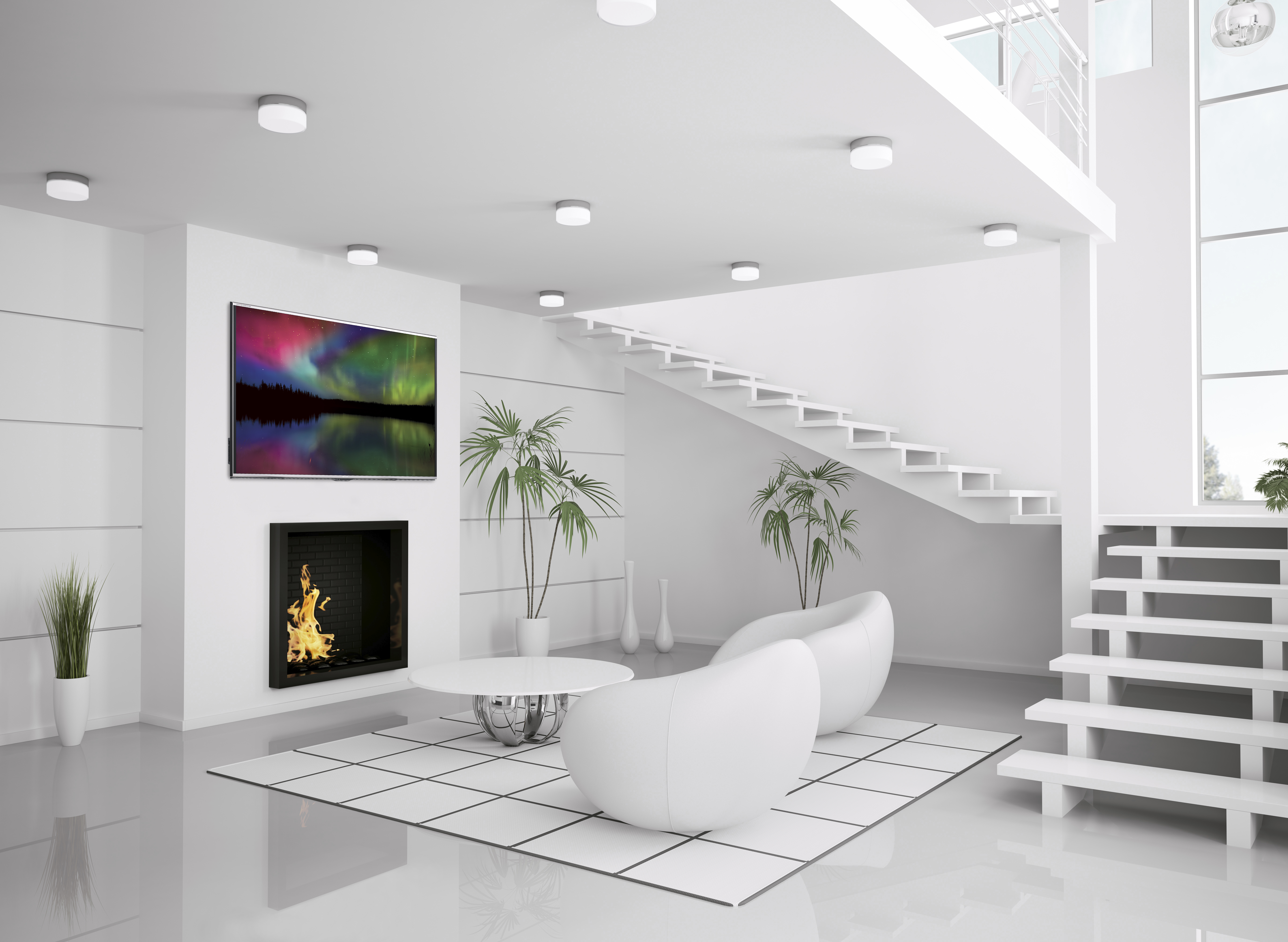Modern white interior of living room 3d render interior White living room ideas