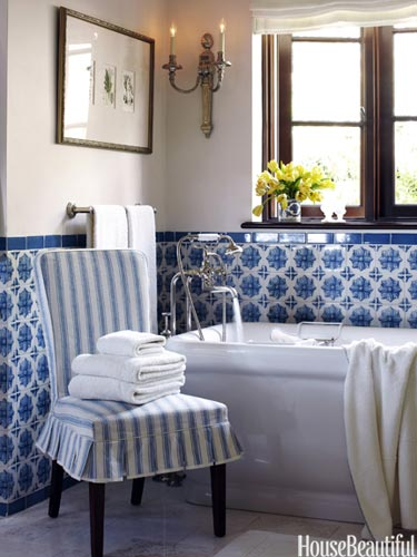 Blue and White Tiled Bath