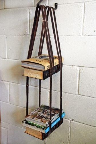 Leather Harness Hanging Bookshelf