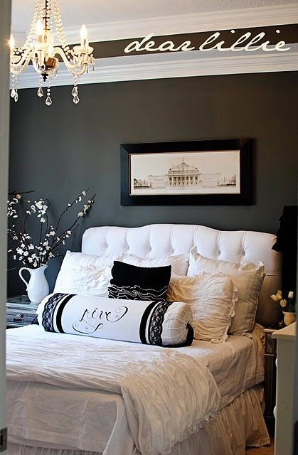 Love the grey walls and chandelier