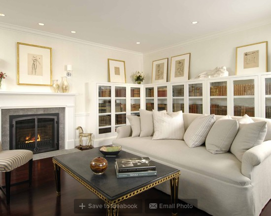 Study with Gas Insert Fireplace
