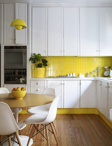 Yellow Vertical Subway Tile