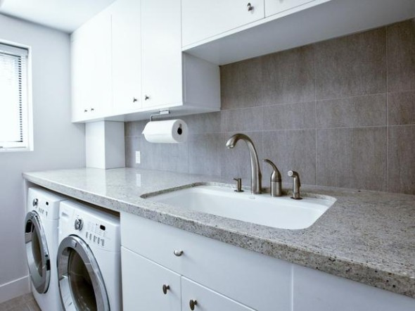 Modern Laundry Room with Folding Counter and Sink