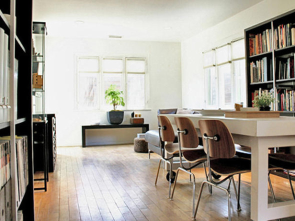 Modern home office with hardwood floors