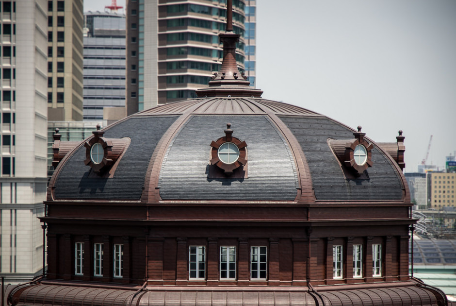 Detail of rooftop dome on Tokyo Station