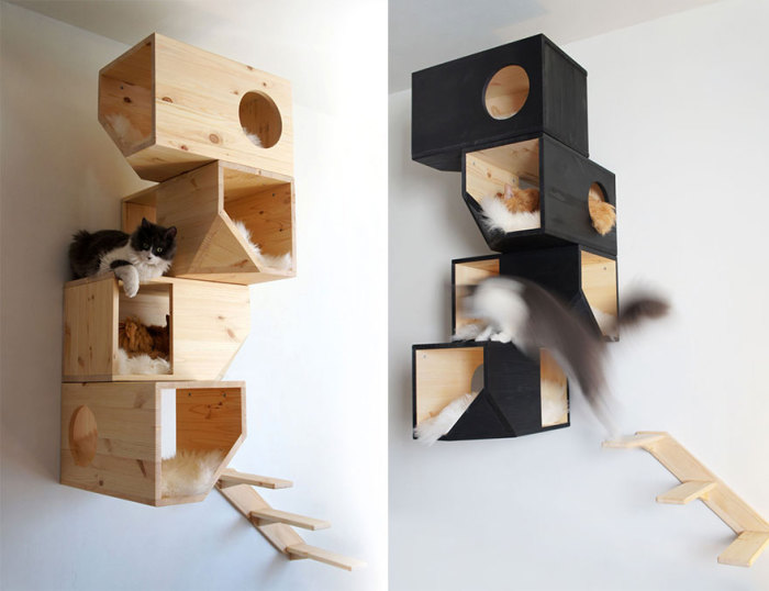 Wall home for the cat from CatissaCatTrees.