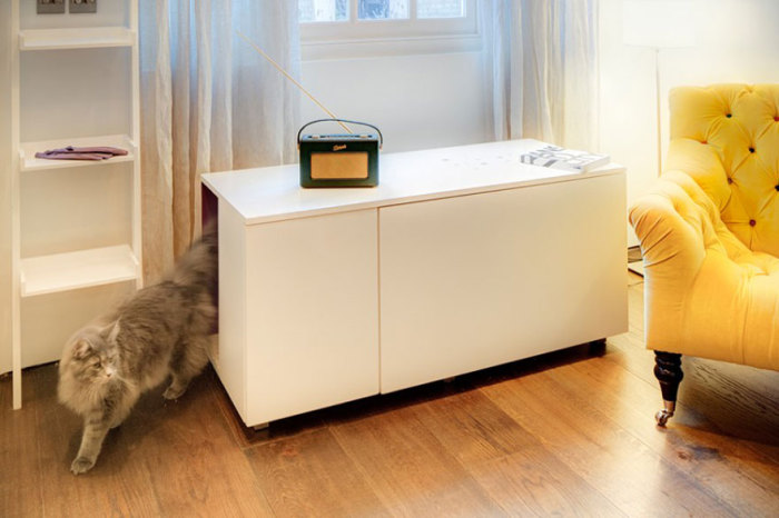 Nightstand with the passage for a pet from elipsdesign.com.